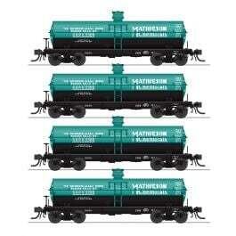 6000 Gallon Tank Car 4-Pack - Ready to Run -- Mathieson SHPX 3305, 3306, 3307, 3309 (green, black)