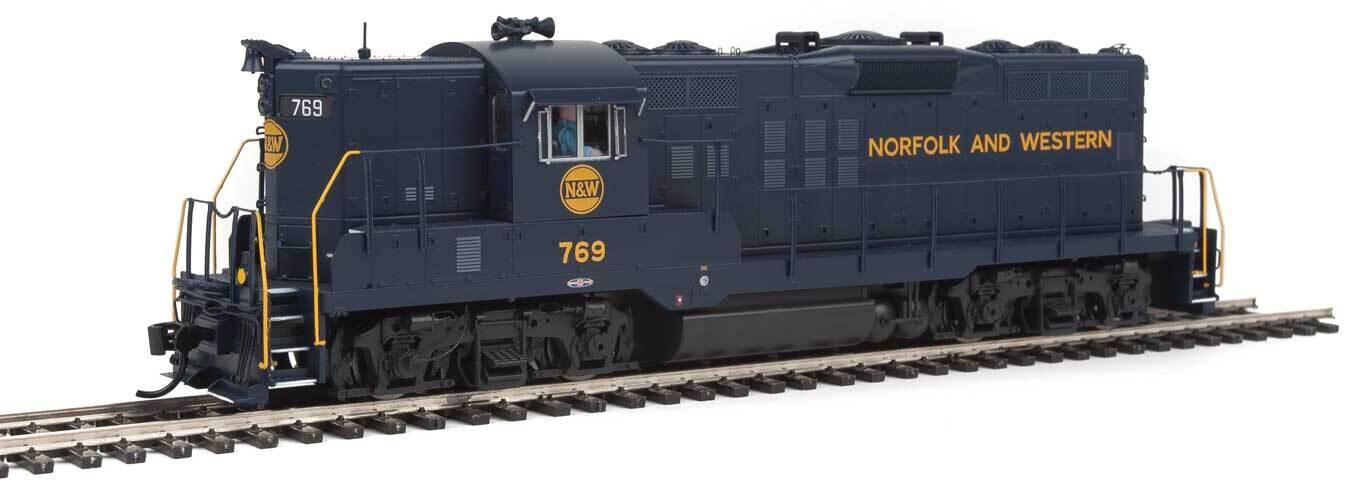 EMD GP9 Phase II High Short Hood - Standard DC -- Norfolk & Western #769 (blue, yellow)