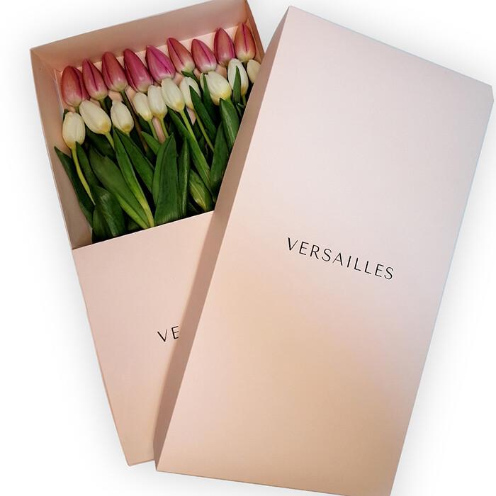 Tulipanes x 20  Caja - Rosado/Blanco