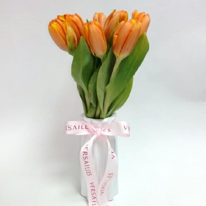 Florero 10 Tulipanes - Naranja