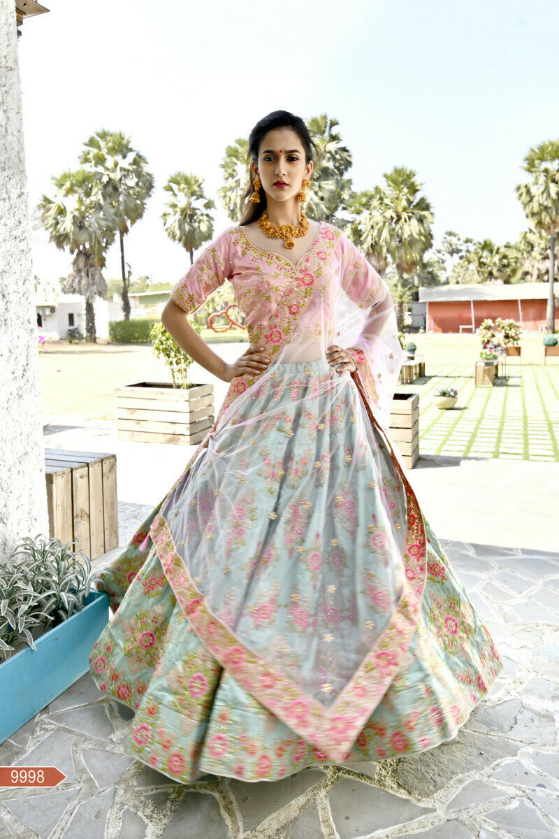 Impressive Peach And Green Weddign Wear Embroidery Work Lehenga Choli