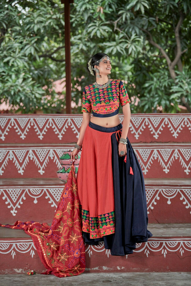 Festival Wear Navy Blue And Orange Resham Work Lehenga choli
