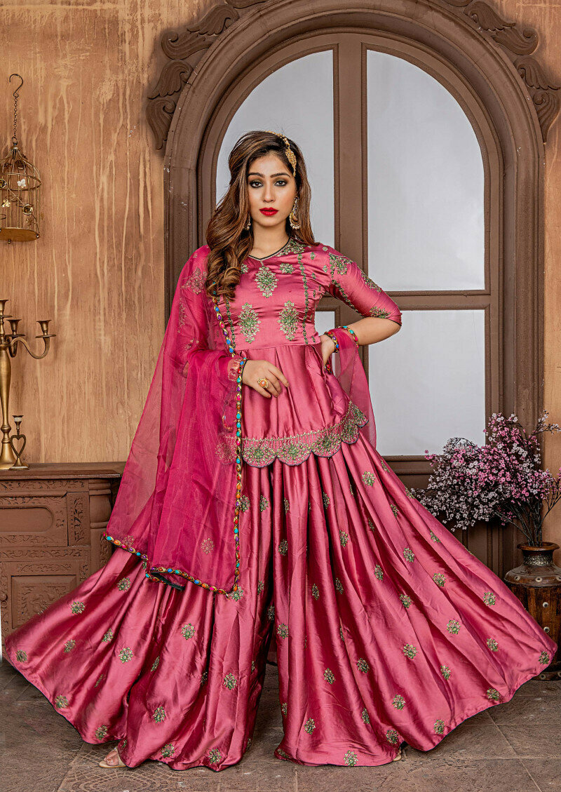 outstanding pink color malai satin sharar suit