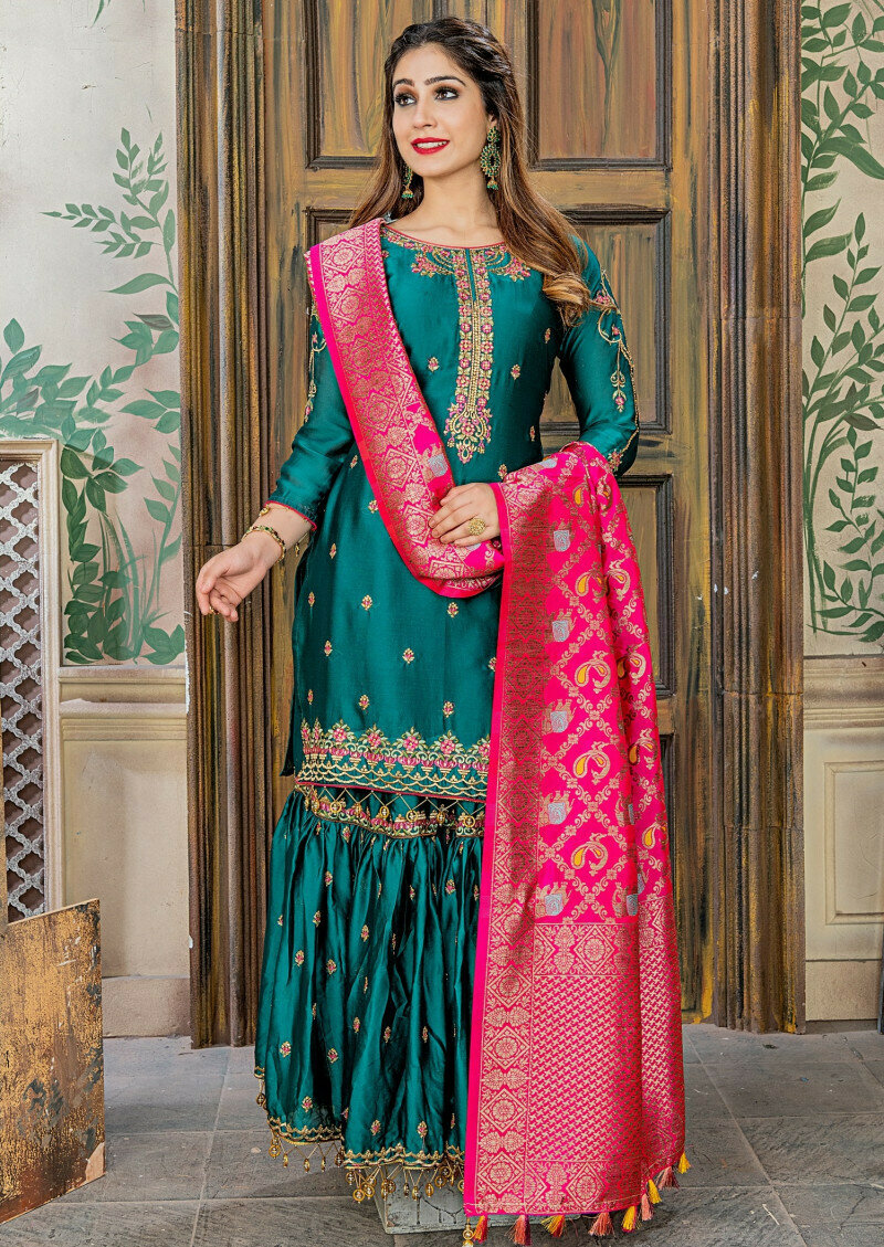 fantastic embroidery work malai satin peacoke green sharara suit
