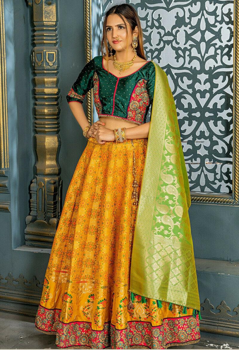 glorious banarasi silk yellow color lehenga choli