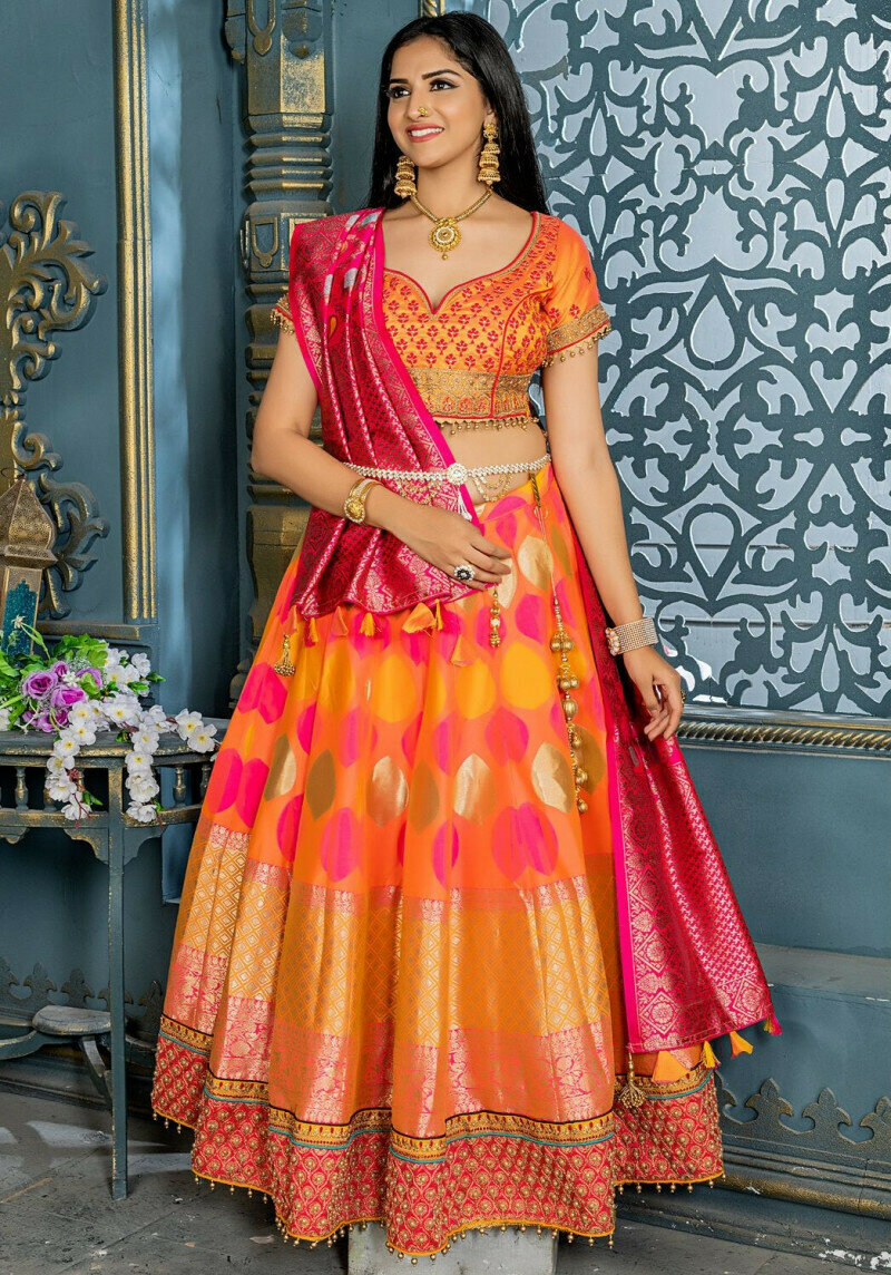 exclusive wedding wear embroidery work orange lehenga choli