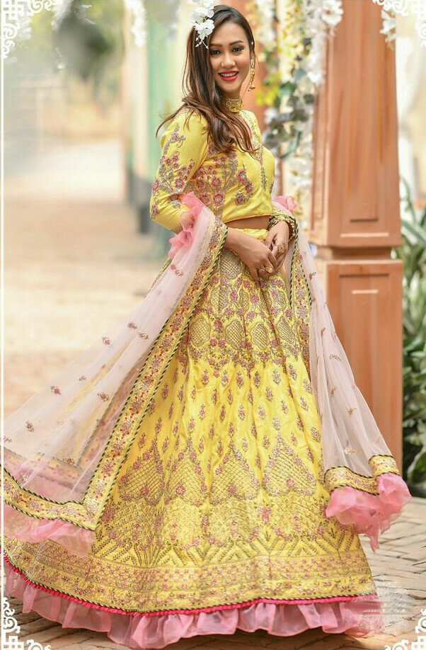 Women's Stylish Designer Yellow Lehenga Choli