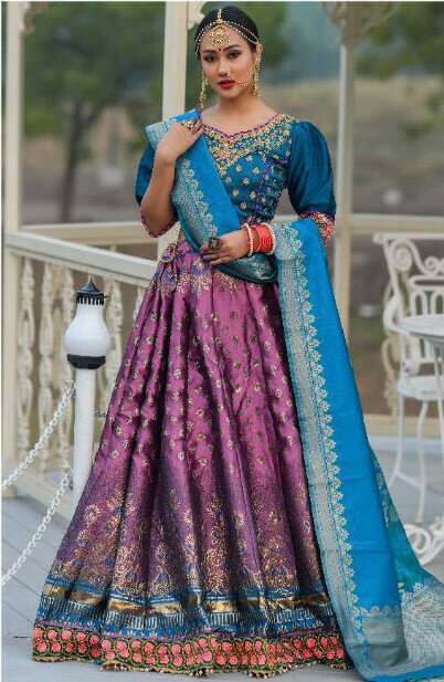 Graceful Violet color Banarasi Silk Resham Work Lehenga Choli