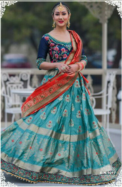 Graceful Sky Blue color Banarasi Silk Resham Work Lehenga Choli