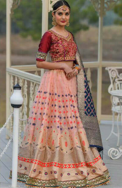 Graceful Pink color Banarasi Silk Resham Work Lehenga Choli