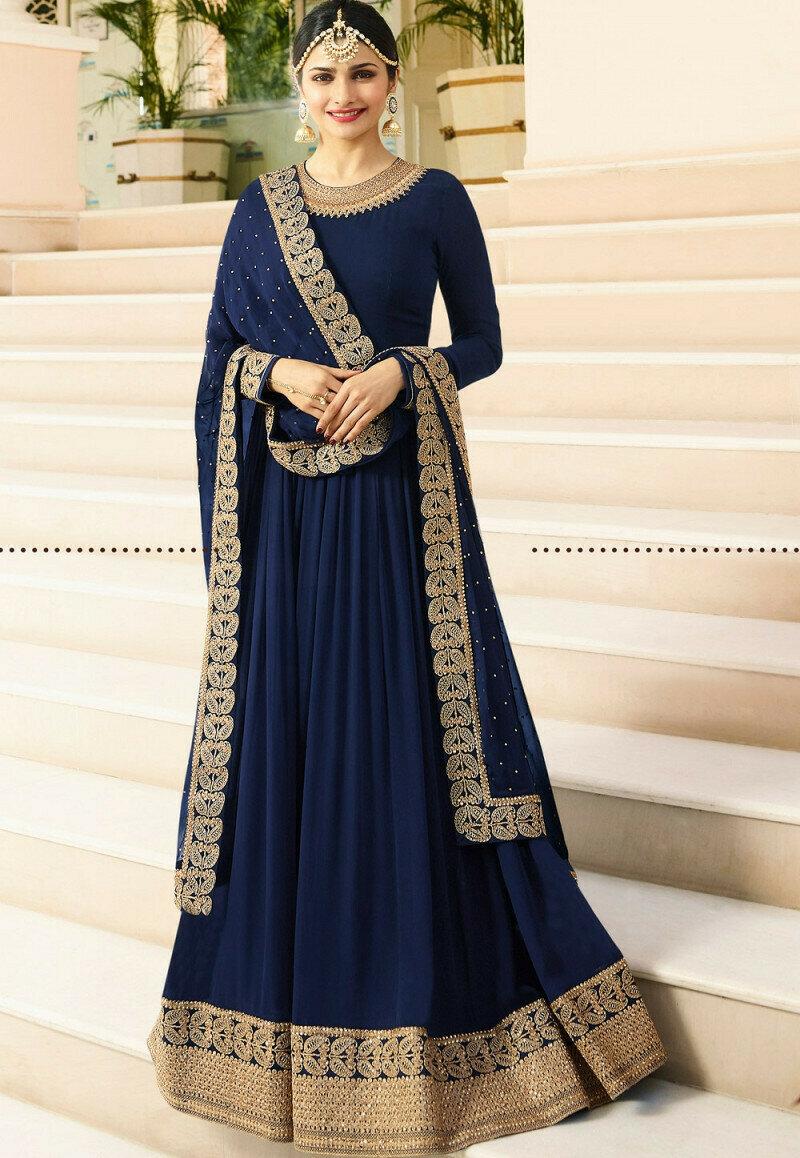 Prachi Desai Wear Blue Embroidered Faux Georgette Anarkali