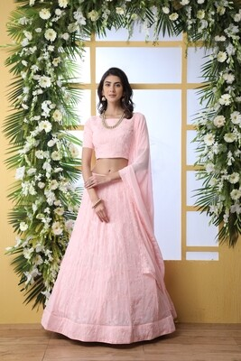Baby Pink Sequence Embroidered Georgette Lehenga Choli