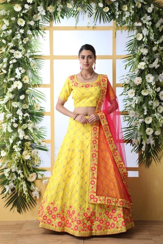 Art Silk Yellow Wedding Wear Lehenga Choli