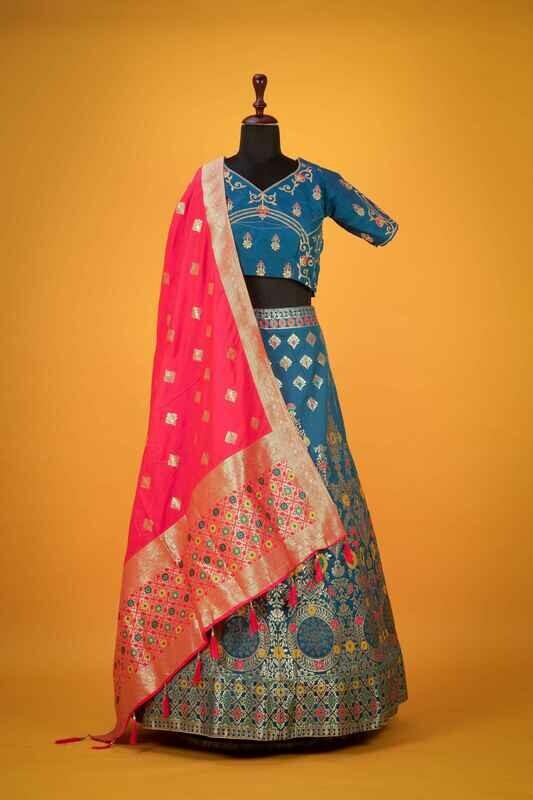 Blue Silk Indian Lehenga Choli