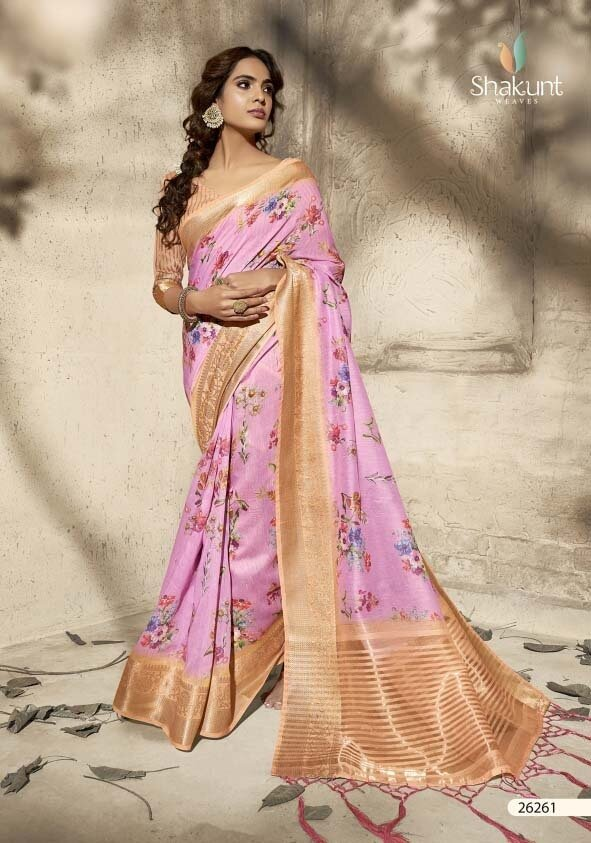 Alluring Light Pink Color Digital Printed Indian Party Wear Saree