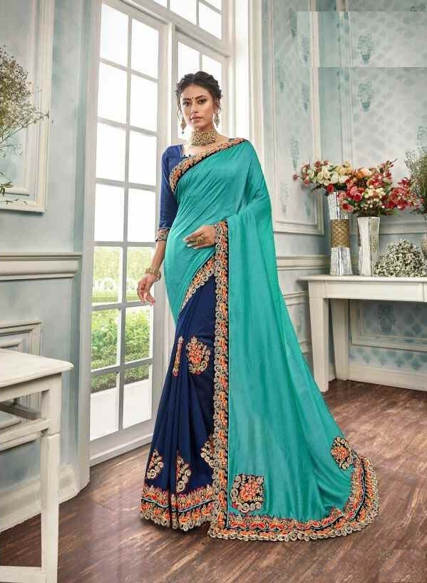 Appealing Light Teal Blue Color Designer Indian Saree With Patch Work