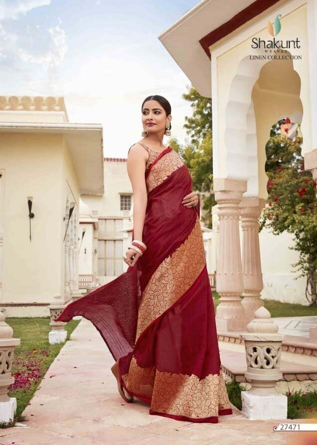 Appealing Red Colour Indian Cotton Saree
