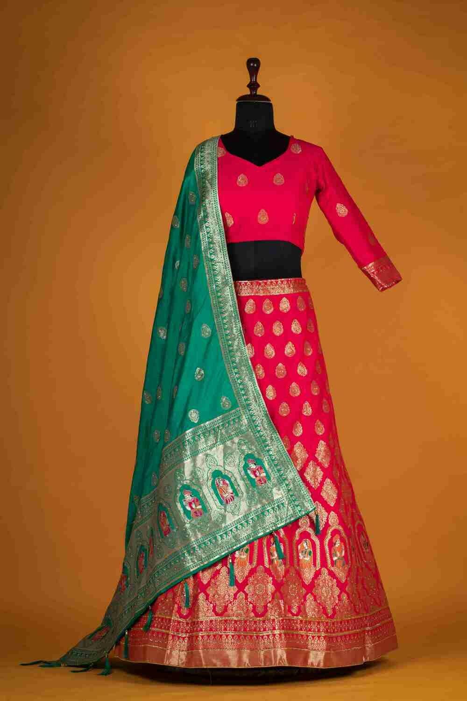 Banarasi Silk Jacquard Pink Handwork Lehenga Choli