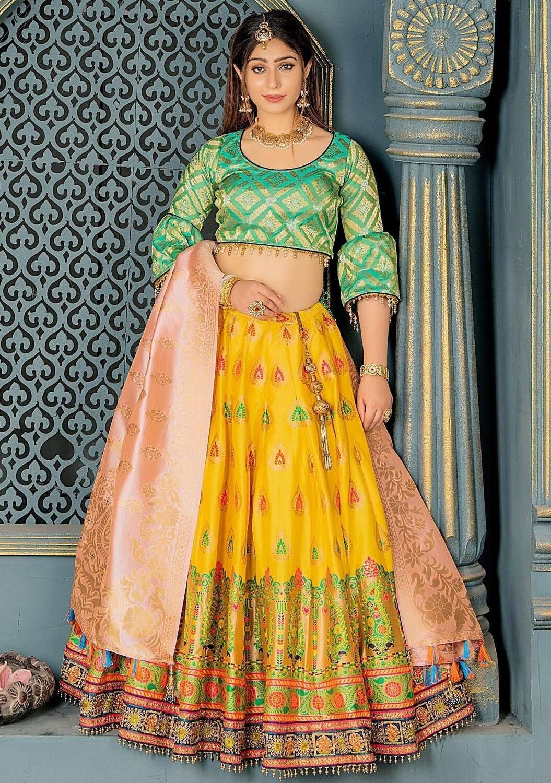 Banarasi Silk Wedding Wear Lehenga In Yellow