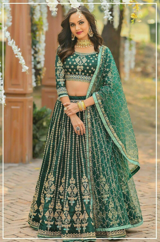 Chennai Silk Heavy Bridal Lehenga In Bottle Green