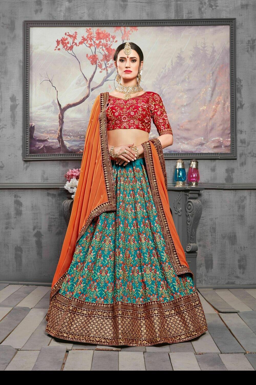 Cherry Red Heavy Embroidered Banarasi Silk Indian Lehenga