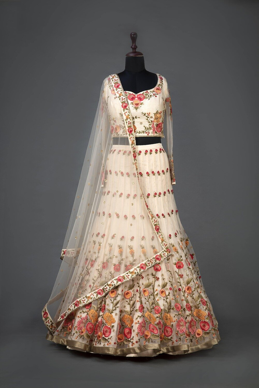 Cream Color Heavy Embroidered Indian Lehenga Design