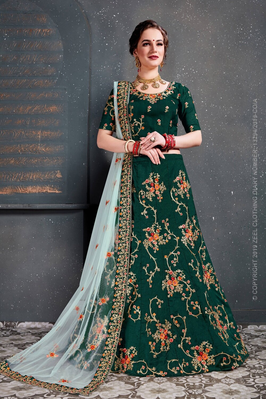 Dark Green Sequins Work Weeding Wear Lehenga Choli
