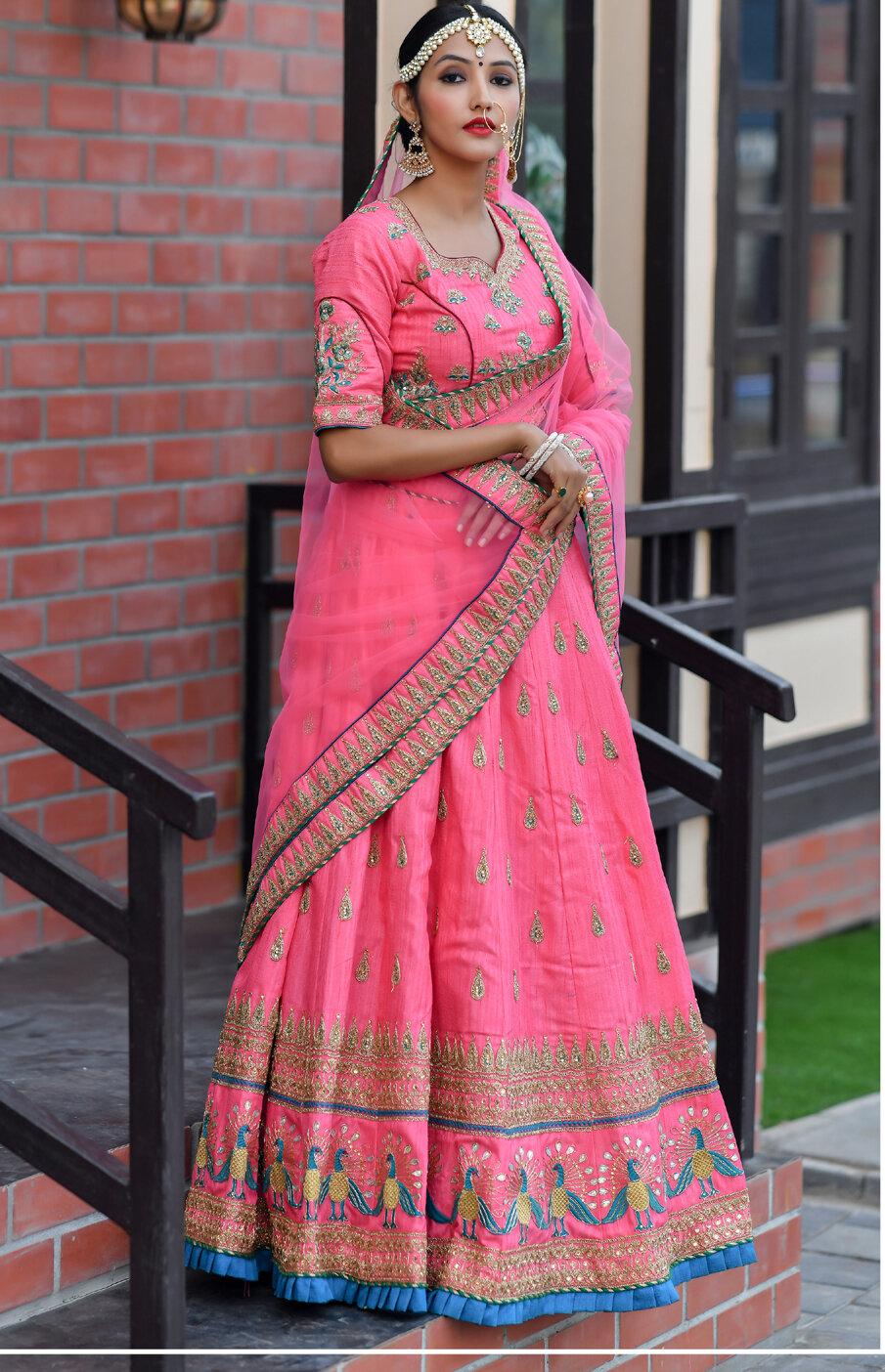 Dark Pink Chennai Silk Embroidered Lehenga Choli