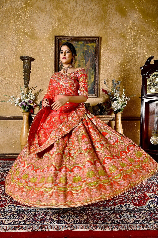 Designer Embroidered Wedding Wear Lehenga In Red