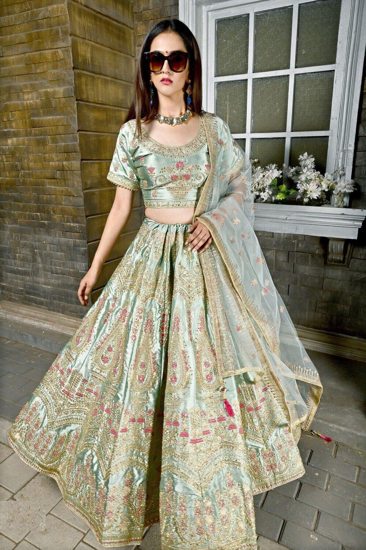 Designer Glowing Caribe Green Bridal Wear Embroidered Lehenga