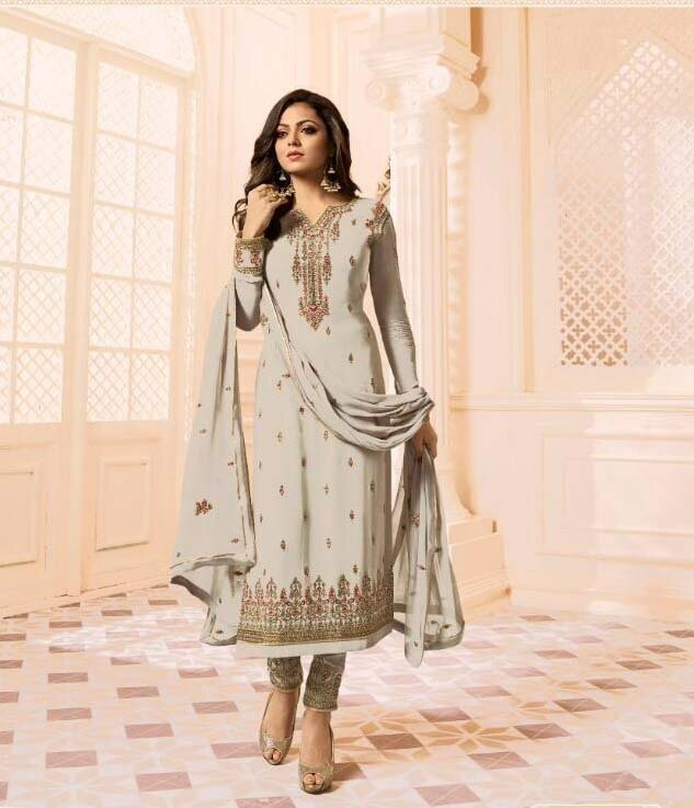 Designer Light Grey Faux Georgette Churidar