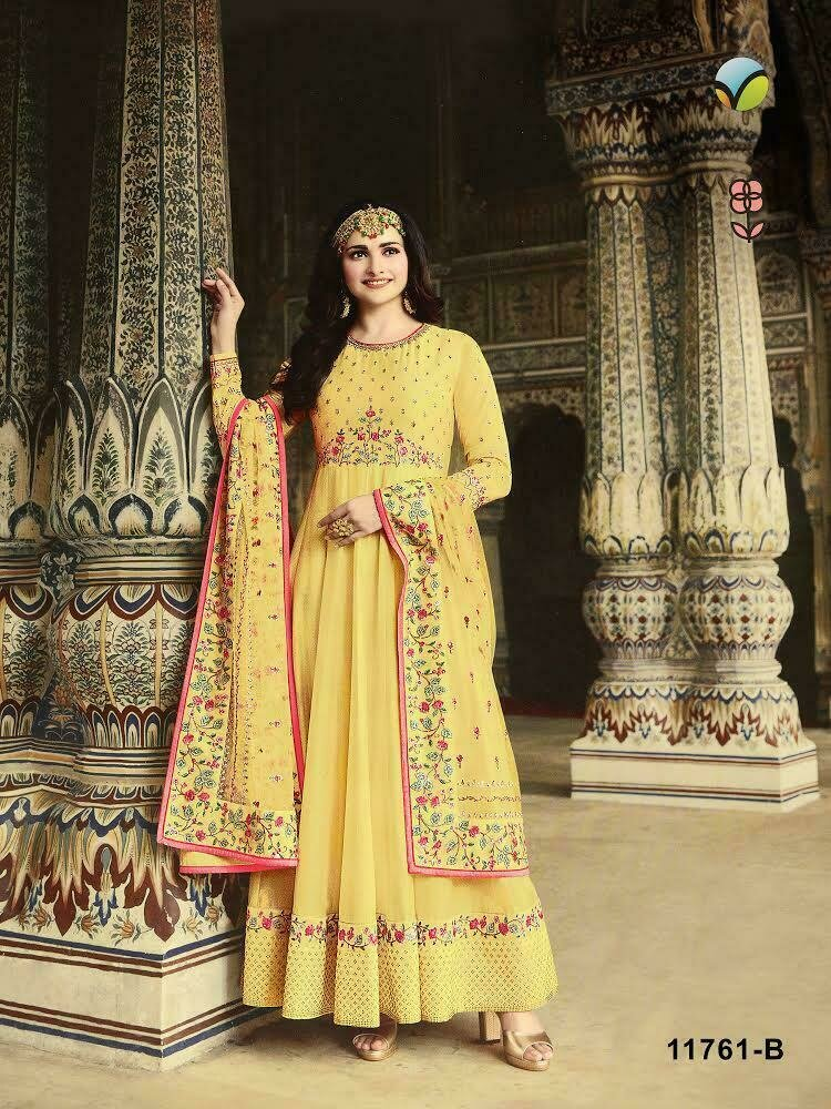 Dola Silk Heavy Embroidered Anarkali Suit