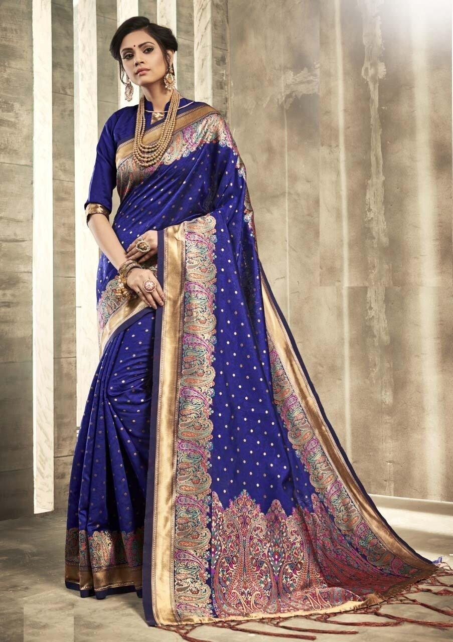 Exotic Dark Blue Color Jacquard Work Indian Saree