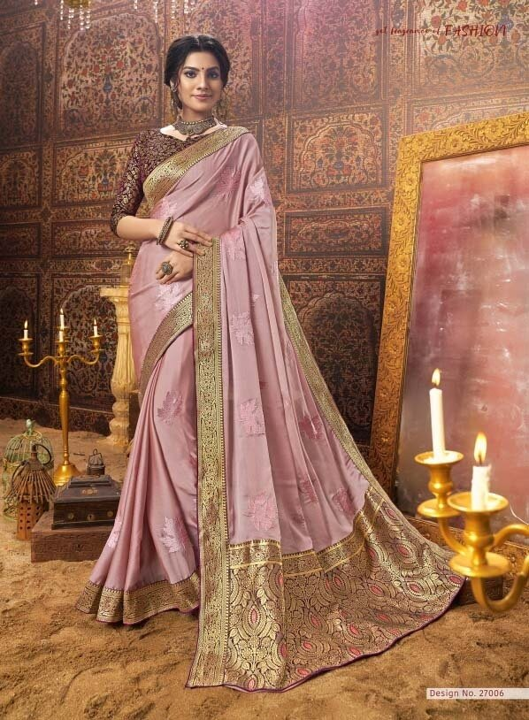 Fantabulous Peach Color Embroidery  Party Wear Saree