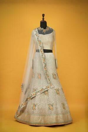 Beige Color Net Wedding Wear Lehenga Choli