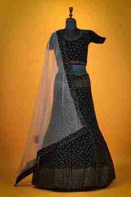 Black Color Wedding Wear Lehenga Choli In Velvet