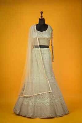 Beige Color Wedding Wear Net Lehenga