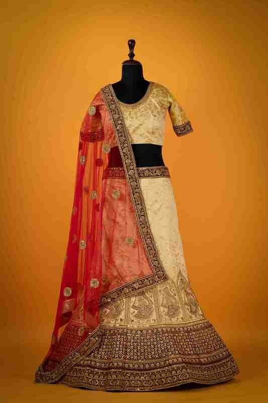 Cream Color Stone Embroidered Lehenga