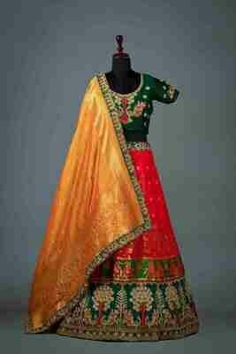 Banarasi Silk Jacquard Hand Work Lehenga Choli In Pink
