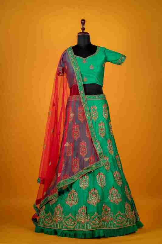 Demanding Peacock Green Taffeta Lehenga Choli