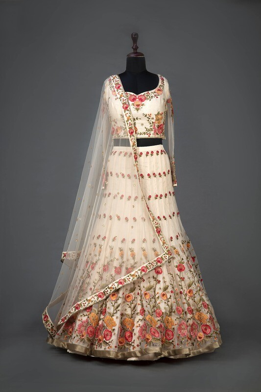 Cream Color Heavy Embroidered Indian Lehenga Design