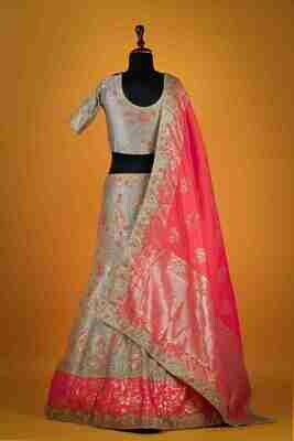 Designer Grey Color Raw Silk Lehenga Choli
