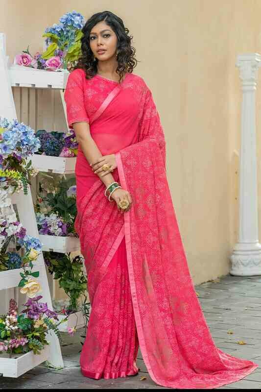 Designer Embroidered Georgette Rose Pink Indian Saree