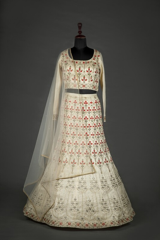 Cream Color Silk Embroidered Lehenga Choli