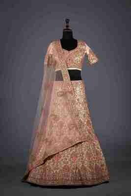 Designer Heavy Embroidered Silk Lehenga In Pink