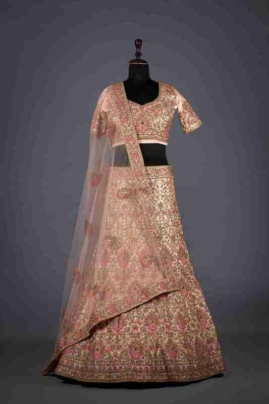 Designer Heavy Embroidered Silk Lehenga In Pink