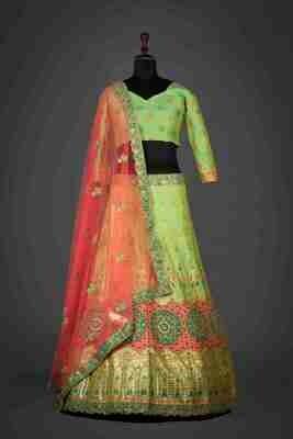 Green Banarasi Silk Hand Work Lehenga