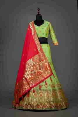 Green Color Wedding Wear Banarasi Silk Lehenga