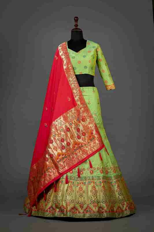 Green Color Wedding Wear Banarasi Silk Lehenga