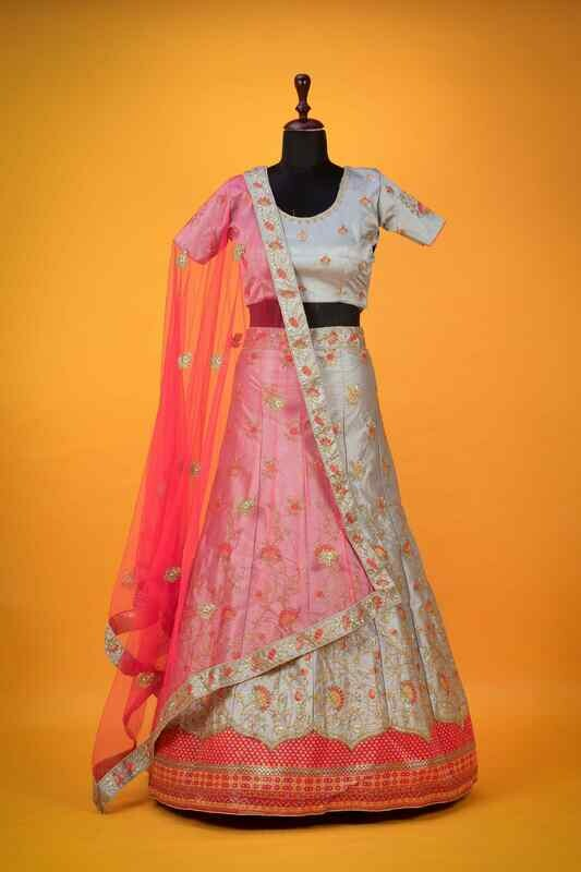 Grey And Pink Raw Silk Embroidered Lehenga